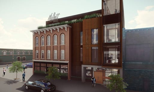 The upcoming Hulett hotel in Cleveland uses the biocycling construction process. Image: Redhouse Studio, via The Guardian.