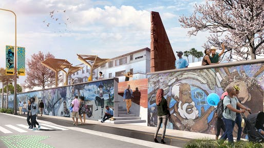 Proposed makeover of the iconic Crenshaw Wall, including art restoration, wall stabilization, and the installation of a parklet, including signage, shade structures, and landscaping . Courtesy of Perkins and Will.