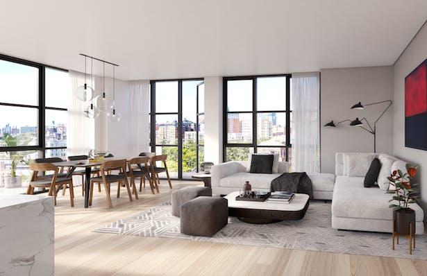 Living room at Eleven Hancock, Credit: Aline Tom at +TOM