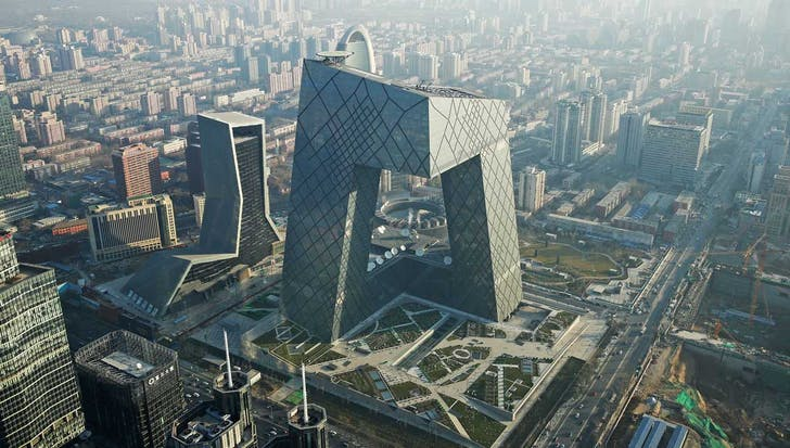 OMA's CCTV Tower (photo via chicagotribune.com)