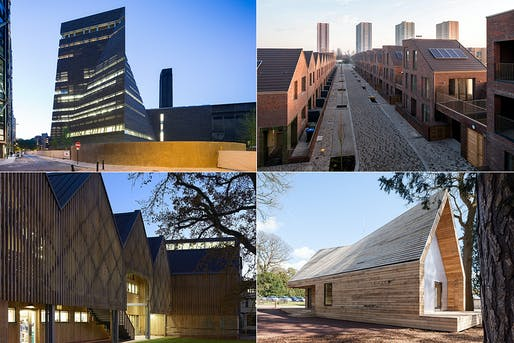 Upper Left: Tate Modern. Photo by Iwan Baan. Upper Right: Dujardin Mews. Photo by Mark Hadden. Bottom Left: Bedales School. Photo by Hufton + Crow. Bottom Right: Wolfson Tree Management Center. Photo by Andy Matthews