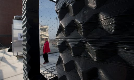 3D-printed house … The future of volume house-building, or a novelty technology for temporary pavilions? (The Guardian; Photograph: Peter Dejong/ASSOCIATED PRESS)