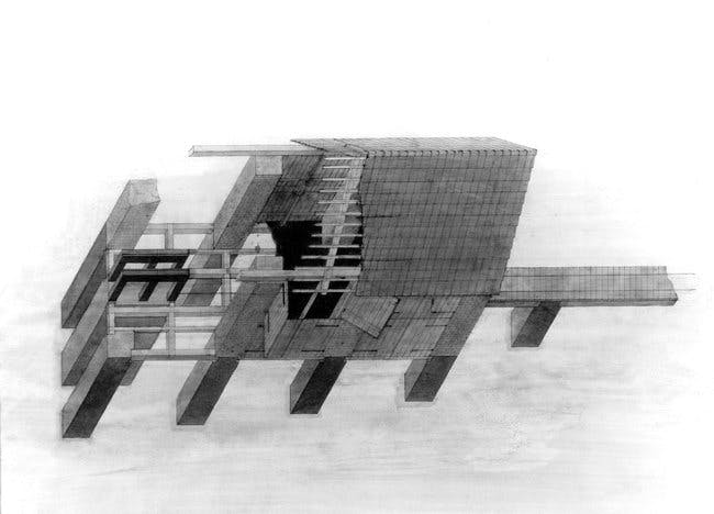'Barn,' by the Austrian architect and avant-garde artist Walter Pichler in Castelli Gallery's first architecture show.