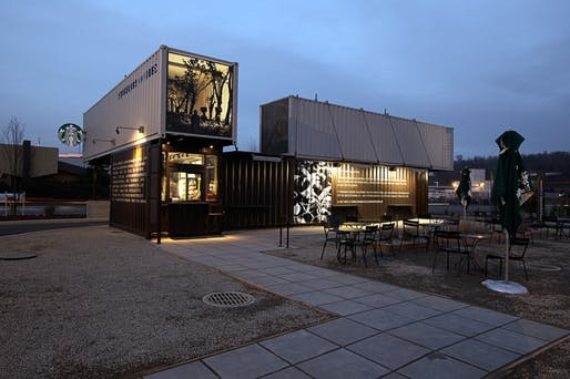 An example of one of Starbucks' LEED certified stores, made out of shipping containers and located in Tukwila, WA.