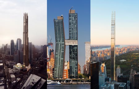 Left to right: 9 DeKalb Avenue, the American Copper Buildings, 111 West 57th Street. Images courtesy of SHoP Architects.