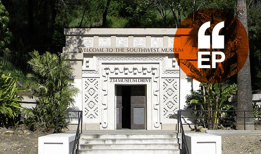A Mayan-Revival gate marks the main pedestrian entrance to the Southwest Museum in Los Angeles. Image courtesy of The Autry