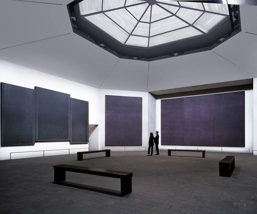 Rendering of the updated chapel with the new skylight as a major imprvement. Image: Kate Rothko Prizel & Christopher Rothko/Artists Rights Society (ARS), New York; Architecture Research Office.