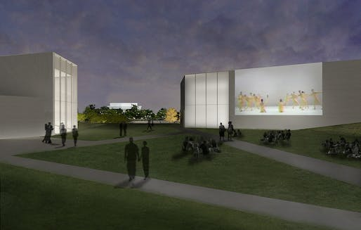 The REACH, Rendering of outdoor video project wall and lawn. Courtesy of Steven Holl Architects.