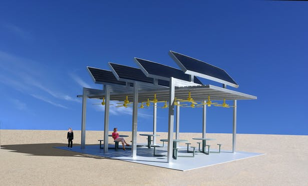 The Solar Ceiling Fan Pavilion that makes electricity from the sun for the local community and powers ceiling fans that make a cool place for the visitors.