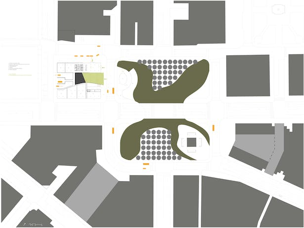 Ground floor plan including context of Public Square.
