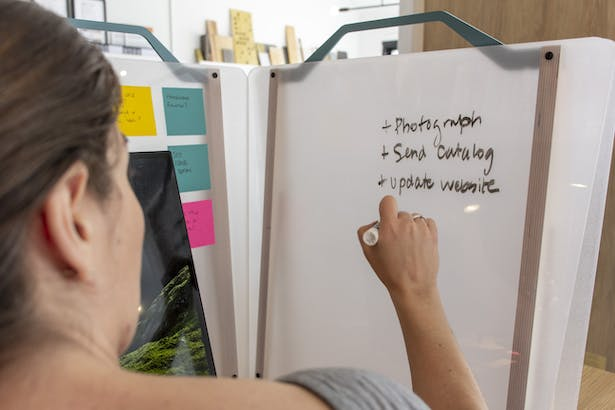 Workwall can be used to write on with dry erase markers.