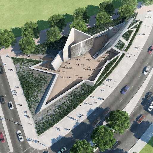Aerial-view rendering of the new Canadian National Holocaust Monument in Ottawa. Image: Studio Libeskind