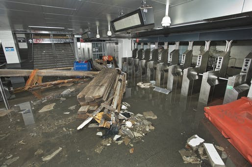 Employees from MTA New York City Transit worked to restore the South Ferry subway station after it was flooded by seawater during Hurricane Sandy in 2012. Photo courtesy of the Metropolitan Transportation Authority of the State of New York.