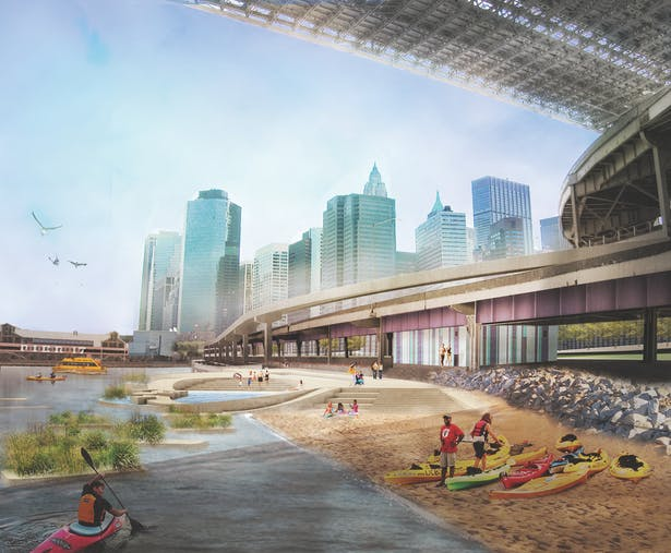 Rendering of proposed Brooklyn Bridge Beach