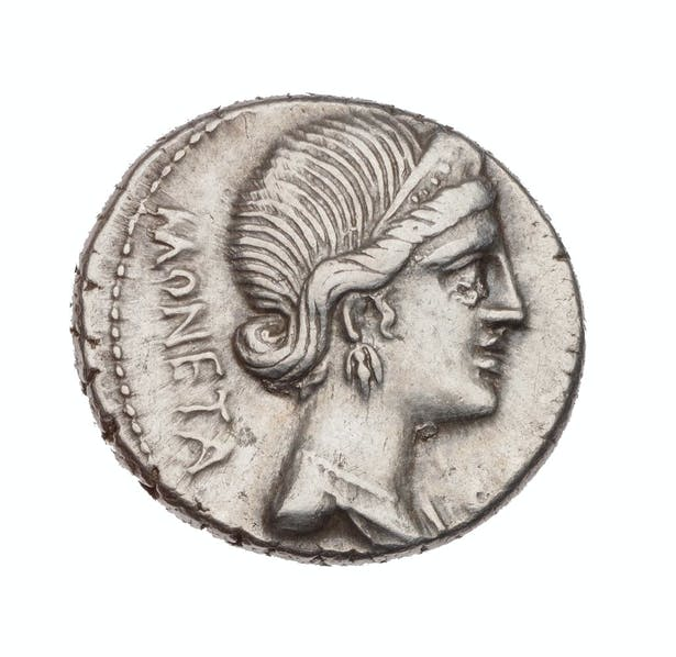 Roman coins with Juno Moneta's portrait circa 46 B.C.