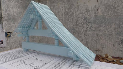 A recreation of a 12th-century Chinese roof in Rem Koolhaas's 'Elements of Architecture' (Image via ft.com)