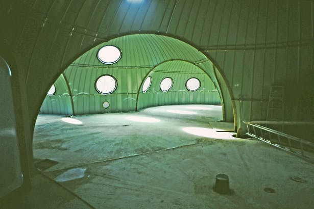 interior view during construction of the four merged exterior domes before the interior domes and insulation were assembled.