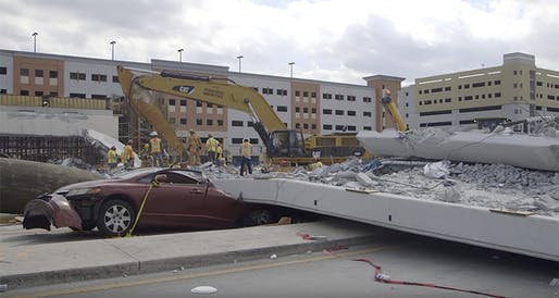 "Image of the collapsed Miami pedestrian brige via <a href=""https://www.youtube.com/watch?v=aeJKqojmHgY"">NTSB video</a> on YouTube."