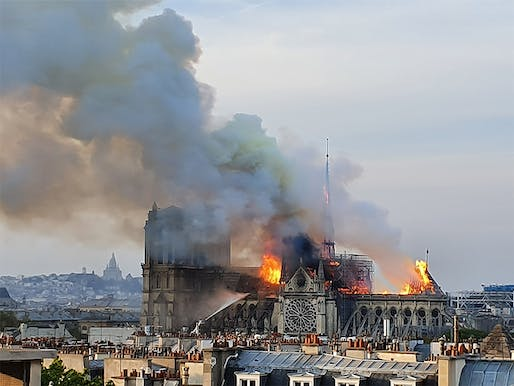 Notre-Dame cathedral on the day of the devastating fire, April 15, 2019. Image: Marind/Wikipedia.