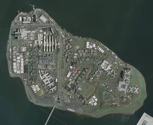 Aerial photo of Rikers Island in New York City. Photo courtesy U.S. Geological Survey
