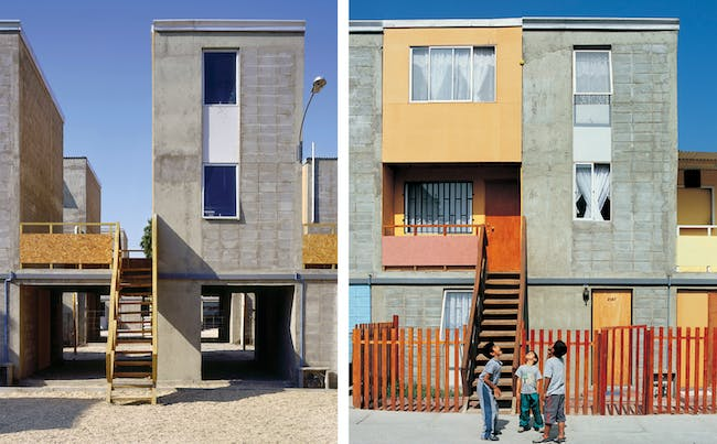 "Quinta Monroy Housing, 2004, Iquique, Chile Photos by Cristobal Palma — Left: ""Half of a good house"" financed with public money. Right: Middle-class standard achieved by the residents themselves. Courtesy of ELEMENTAL."