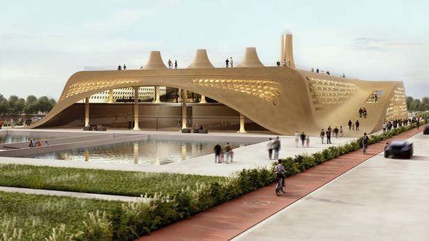 Architecture form takes inspiration from the morphology of the land and the traditional architecture of central Iran