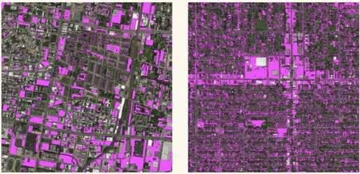 Satellite images with surface parking highlighted in Philadelphia (left) and Seattle (right), via the Research Institute for Housing America.