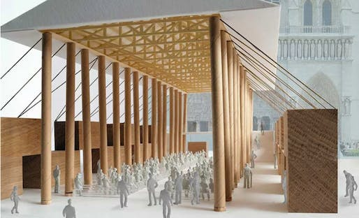 Rendering of the proposed Notre Dame temporary facility. Image courtesy of Shigeru Ban Architects.