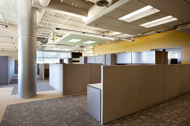 Large volumetric open office spaces.