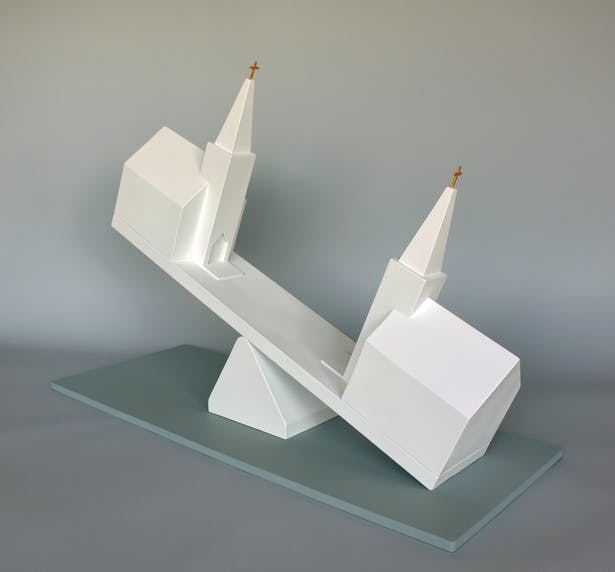 Seesaw Churches, 30 inches L 12 inches W 22 inches H.
