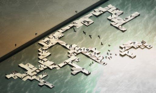Rendering of the modular floating docks instantly transforming the waterfront of Izmir, Turkey. (Image: Gudjon Erlendsson/Iyiofis, via theguardian.com)