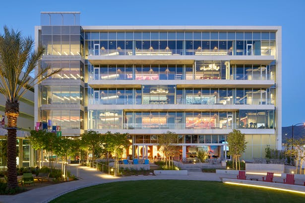 """The building lobby and a series of """"front porches"""" face out onto the redesigned courtyard."""