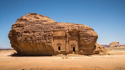 Tomb at the Mada'in Saleh archaeological site in Al-Ula​.
