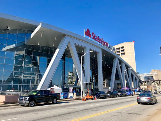Exterior view of Atlanta's State Farm Arena. Photo courtesy of Wikimedia userWarren LeMay