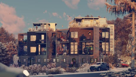ArchViz for Seattle residential buildings - Sunny/Snow