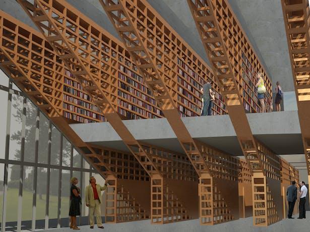 Interior rendering of structural wooden bookshelves.