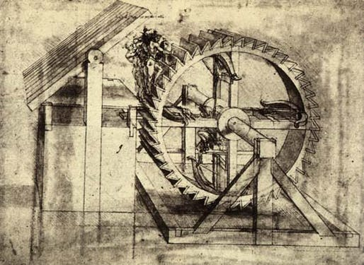 Crossbow Machine. Leonardo da Vinci, 1481.