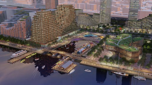 "Aerial rendering of the proposed vision for Quayside looking northwest at sunset. Rendering by West 8 + DTAH. Courtesy of <a href=""https://waterfrontoronto.ca"">waterfrontoronto.ca</a>"
