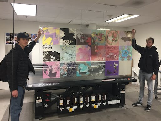 Students Benjamin Sperry and Christian Coley finish printing their classmates' work on acrylic. Instructor: Kirill Volchinskiy