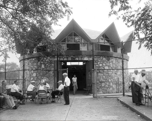 View of the whimsical pavilion. Image courtesy of DoCoMoMo Philadelphia.