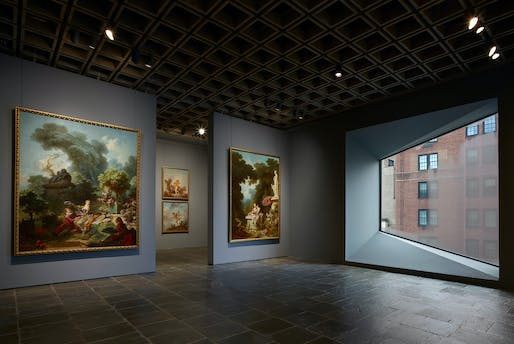 Four grand panels of Fragonard's series <em>The Progress of Love</em> are shown together at Frick Madison in a gallery illuminated by one of Marcel Breuer's trapezoidal windows. Photo: Joe Coscia, all images courtesy of The Frick Collection.