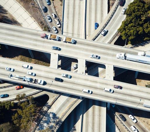 "Aerial view of the 110-101 interchange in Los Angeles. Photo: Daniel Lee/<a href=""https://unsplash.com/photos/dzi83tDenUY"">Unsplash</a>"