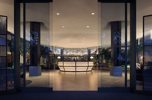 Lantern House Lobby. Rendered image courtesy of Related Companies
