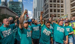 Hundreds of construction workers protest Hudson Yards developer Steve Ross, calling on NFL to remove him from commitee