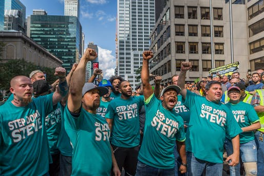 Thousands of union construction workers rallied calling on Steve Ross, founder of Related Companies & owner of the Miami Dolphins, to step down from the NFL Social & Racial Justice Committee. Photo via CountMeIn Facebook Page.