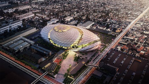 An aerial view of the proposed Clippers arena in Inglewood, California. Image courtesy of the Los Angeles Clippers.
