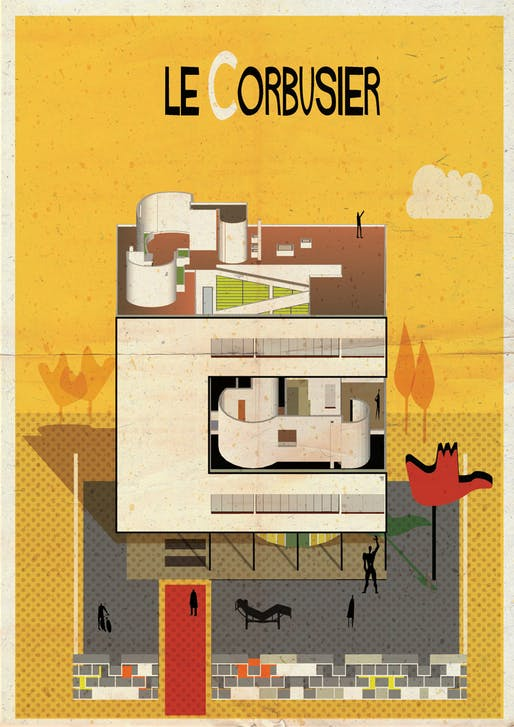C is for Le Corbusier. Image via federicobabina.com