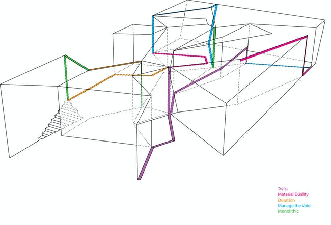 Installation diagram of UNStudio's 'Motion Matters' at the MAXXI Museum. Image: UNStudio