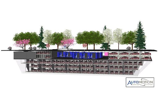 The new below-grade automated parking garage will house almost 700 cars on its 5 floors. Drivers will simply pull their car into a designated area, grab a ticket, and then a high-tech system will whisk the car away into a parking space. (Build a Better Burb; Image courtesy of Automotion Parking Systems/Jeffrey Hyde)