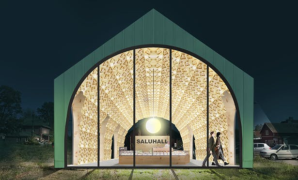 Proposed new Market hall with 6000 forgotten locally produced wood carvings attached to the celling